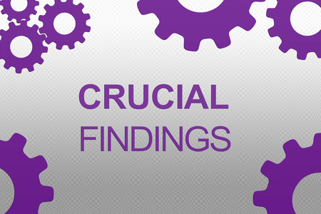 CRUCIAL FINDINGS sign concept illustration with purple gear wheel figures on gray gradient background