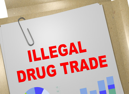 3D illustration of ILLEGAL DRUG TRADE title on business document
