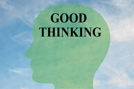 Render illustration of GOOD THINKING title on head silhouette, with cloudy sky as a background. Stock Photo