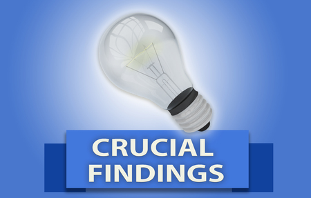 CRUCIAL FINDINGS concept with blue text banner and 3d rendered domestic light bulb, isolated with a glow around it over a pale blue background