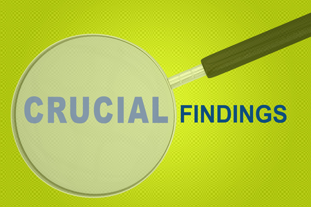 CRUCIAL FINDINGS sign concept 3D illustration with a magnifying glass on pale green background Stock Photo