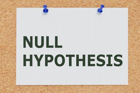 3D illustration of NULL HYPOTHESIS on cork board Stok Fotoğraf