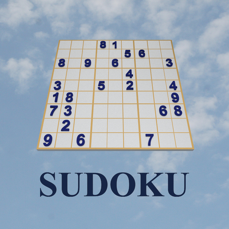 3D illustration of SUDOKU title formed by gray digits, in a 9×9 partialy filled soduko grid, with cloudy sky as a background.