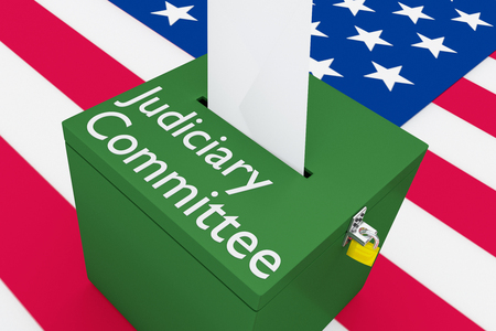3D illustration of Judiciary Committee script on a ballot box, with US flag as a background. Stock Photo