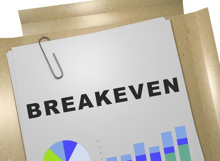 3D illustration of BREAKEVEN title on business document