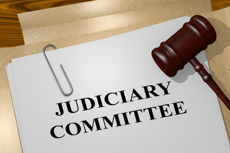 3D illustration of JUDICIARY COMMITTEE title on legal document