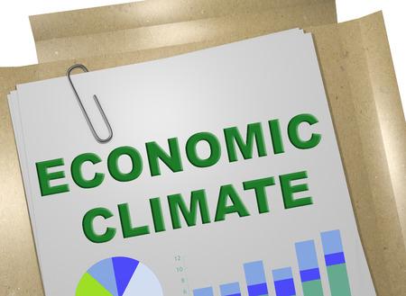 3D illustration of ECONOMIC CLIMATE title on business document