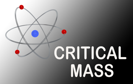 3D illustration of an atom with CRITICAL MASS title, isolated on a black and white gradient.