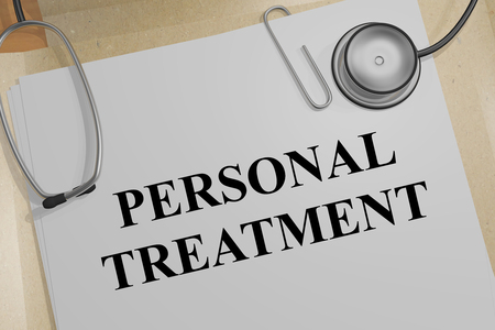 3D illustration of PERSONAL TREATMENT title on a medical document 写真素材