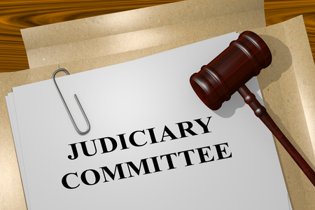3D illustration of JUDICIARY COMMITTEE title on legal document Stock Illustration - 113958440