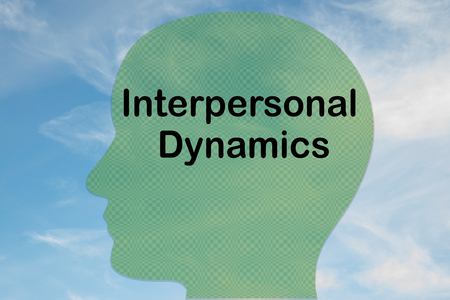 Render illustration of Interpersonal Dynamics title on head silhouette, with cloudy sky as a background.