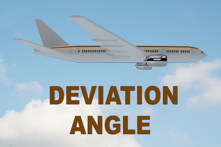 3D illustration of DEVIATION ANGLE title on cloudy sky as a background, under an airplane.