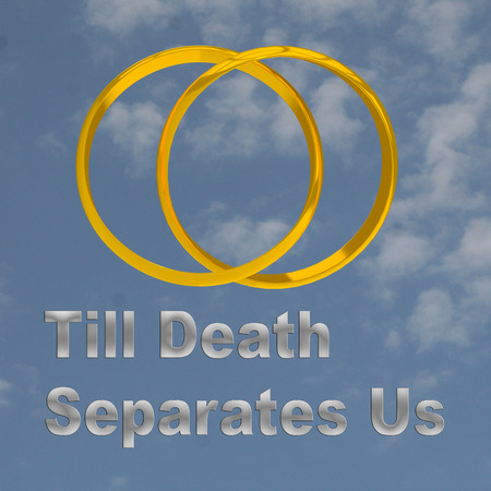 3D illustration of Till Death Separates Us title, placed below a combined pair of golden rings, over a cloudy sky as a background.