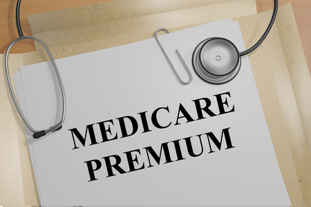 3D illustration of MEDICARE PREMIUM title on a medical document