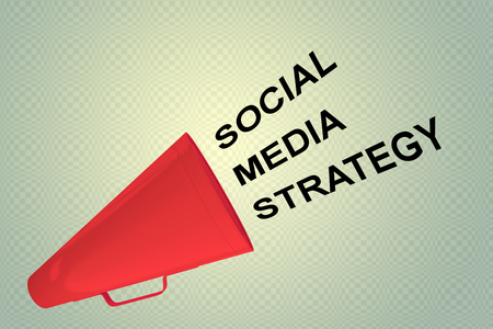 3D illustration of SOCIAL MEDIA STRATEGY title flowing from a loudspeaker
