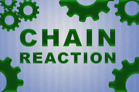 CHAIN REACTION sign concept illustration with green gear wheel figures on pale blue strips pattern as background