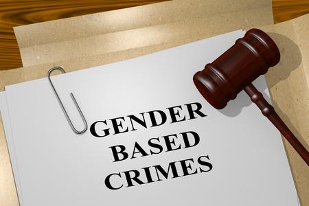 3D illustration of GENDER BASED CRIMES title on legal document
