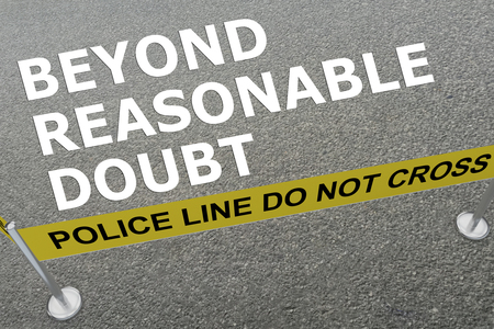 3D illustration of BEYOND REASONABLE DOUBT title on the ground in a police arena Stock Photo