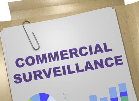 3D illustration of COMMERCIAL SURVEILLANCE title on business document Imagens - 115526127