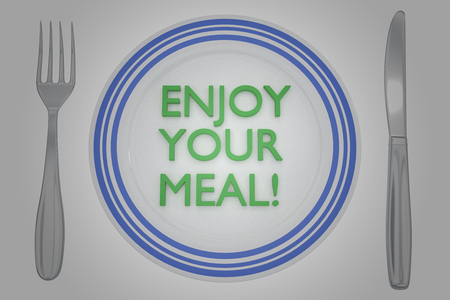 3D illustration of ENJOY YOUR MEAL! title on a white plate, along with silver knif and fork, on a yellow background.