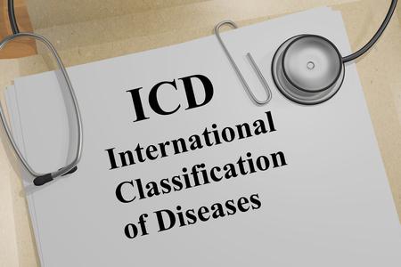Ilustración 3D del título de la Clasificación Internacional de Enfermedades de la CIE en un documento médico