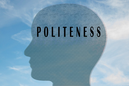 Render illustration of POLITENESS title on head silhouette, with cloudy sky as a background.
