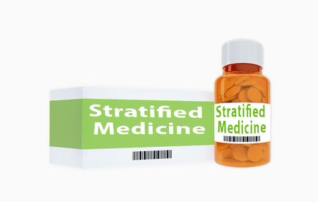 3D illustration of Stratified Medicine title on pill bottle, isolated on white. Stok Fotoğraf
