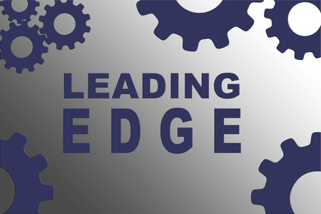LEADING EDGE sign concept illustration with violet gear wheel figures on gray gradient background