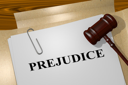 3D illustration of PREJUDICE title on legal document