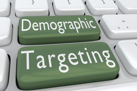 3D illustration of computer keyboard with the script Demographic Targeting on two adjacent buttons Stock Photo