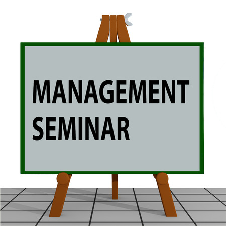 3D illustration of MANAGEMENT SEMINAR title on a tripod display board