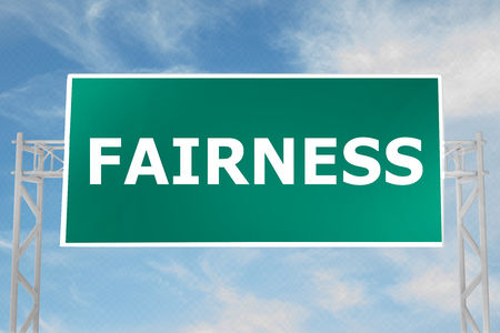 3D illustration of FAIRNESS script on road sign
