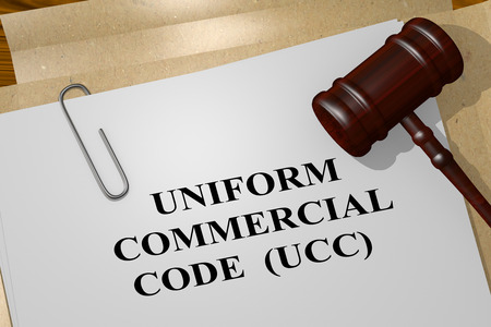 3D illustration of UNIFORM COMMERCIAL CODE (UCC) title on legal document Banque d'images - 116425256