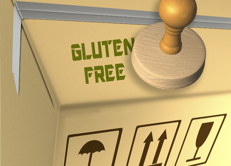 3D illustration of GLUTEN FREE stamp title on a carton which contains food Standard-Bild - 116425341