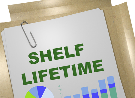 3D illustration of SHELF LIFETIME on business document