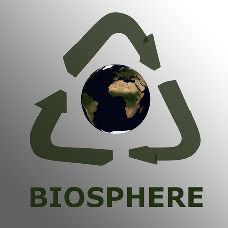 BIOSPHERE script , under a 3D recycling symbol surrounding 3D model of the world Showing Earth from space. Elements of this image furnished by NASA.