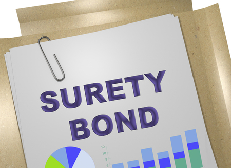 3D illustration of SURETY BOND on business document Stock Photo