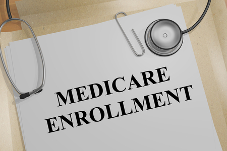 3D illustration of MEDICARE ENROLLMENT title on a medical document