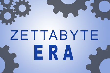 ZETTABYTE ERA sign concept illustration with gray gear wheel figures on pale blue background