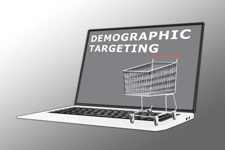 3D illustration of DEMOGRAPHIC TARGETING script with a supermarket cart placed on the keyboard 版權商用圖片