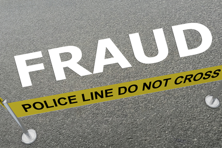 3D illustration of FRAUD title on the ground in a police arena Stock Photo