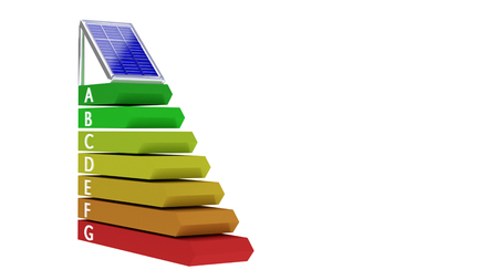 Solar panel over Energy class rating system made of 3d render illustration of bar chart to measure consumption efficiency Archivio Fotografico - 122460583