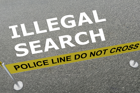 3D illustration of ILLEGAL SEARCH title on the ground in a police arena