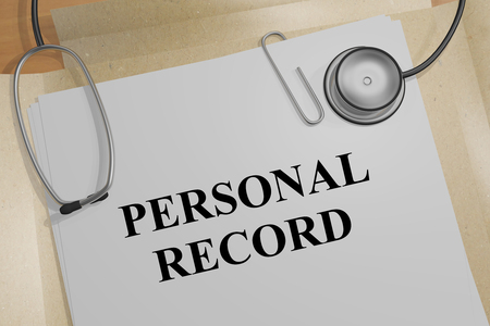 3D illustration of PERSONAL RECORD title on a medical document Stok Fotoğraf - 122460696