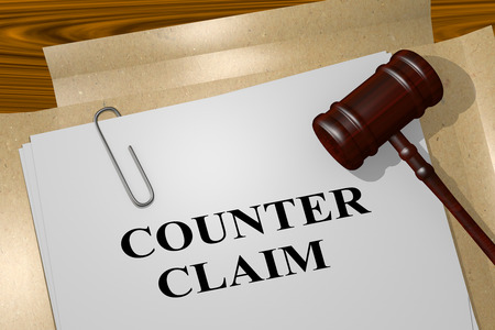 3D illustration of COUNTER CLAIM title on legal document
