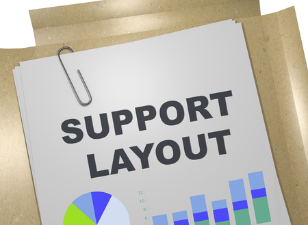 3D illustration of SUPPORT LAYOUT title on business document 版權商用圖片