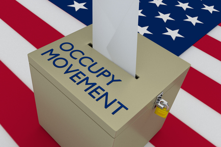 3D illustration of OCCUPY MOVEMENT script on a ballot box, with US flag as a background.