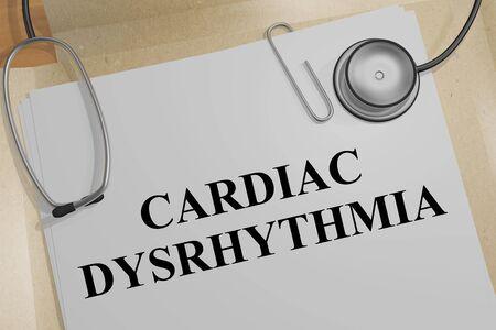 3D illustration of CARDIAC DYSRHYTHMIA title on a medical document