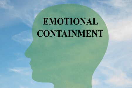 Render illustration of EMOTIONAL CONTAINMENT title on head silhouette, with cloudy sky as a background.