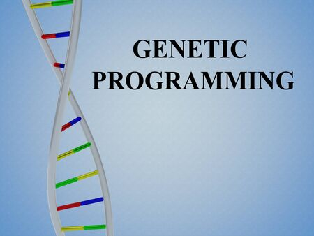 3D illustration of GENETIC PROGRAMMING script with DNA double helix , isolated on colored pattern. Imagens